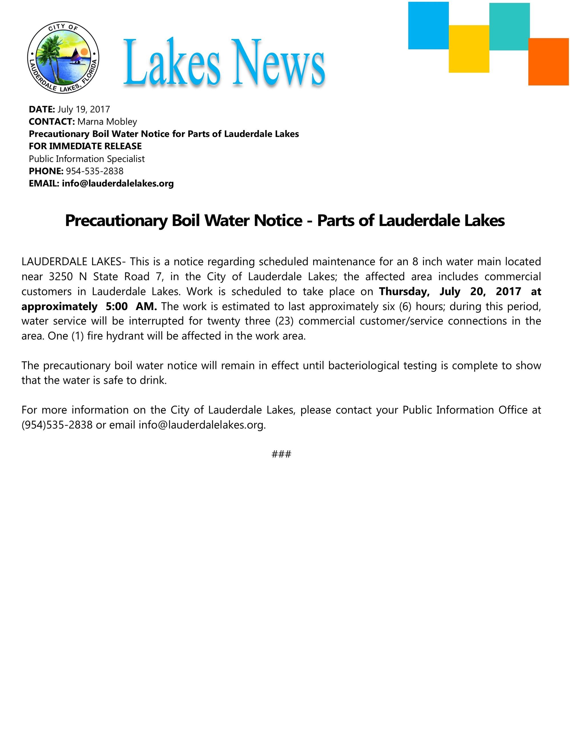 press.precautionary boil water notice 7 20 17