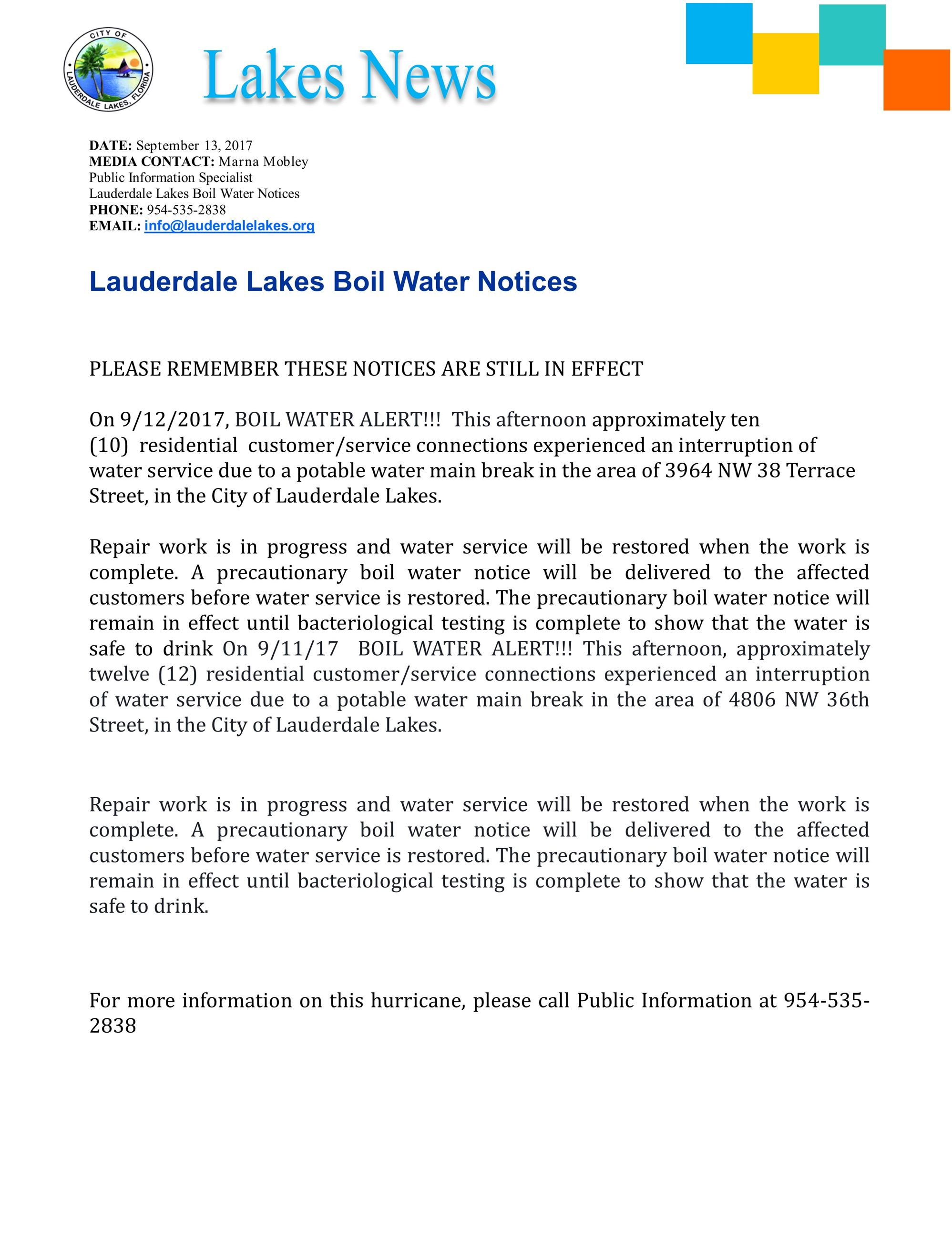 press. boil water notices