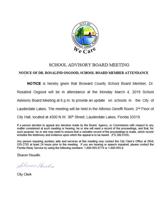 SCHOOL BOARD AVISORY MEETING OSGOOD 3 4 2019