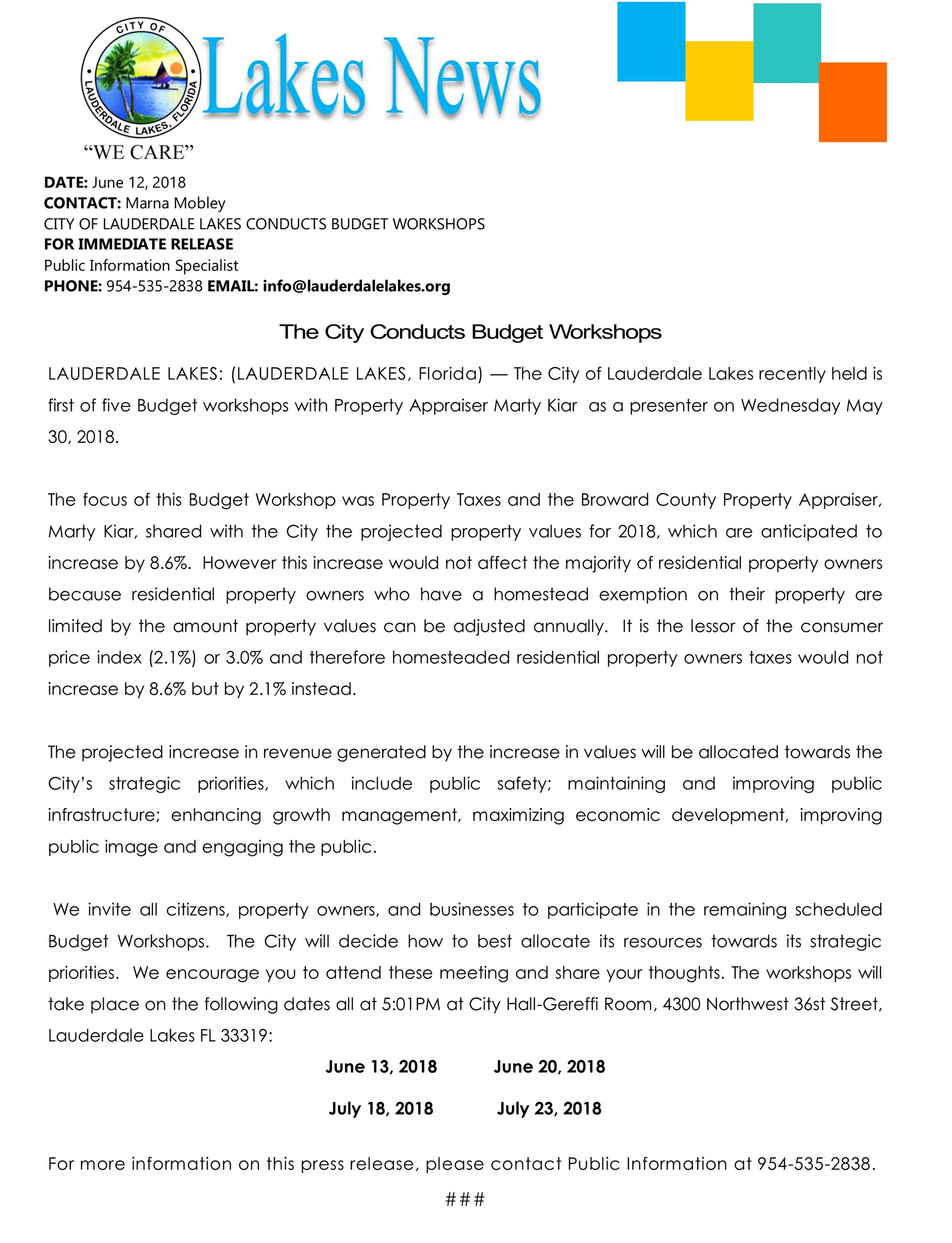 Press.Budget Workshops
