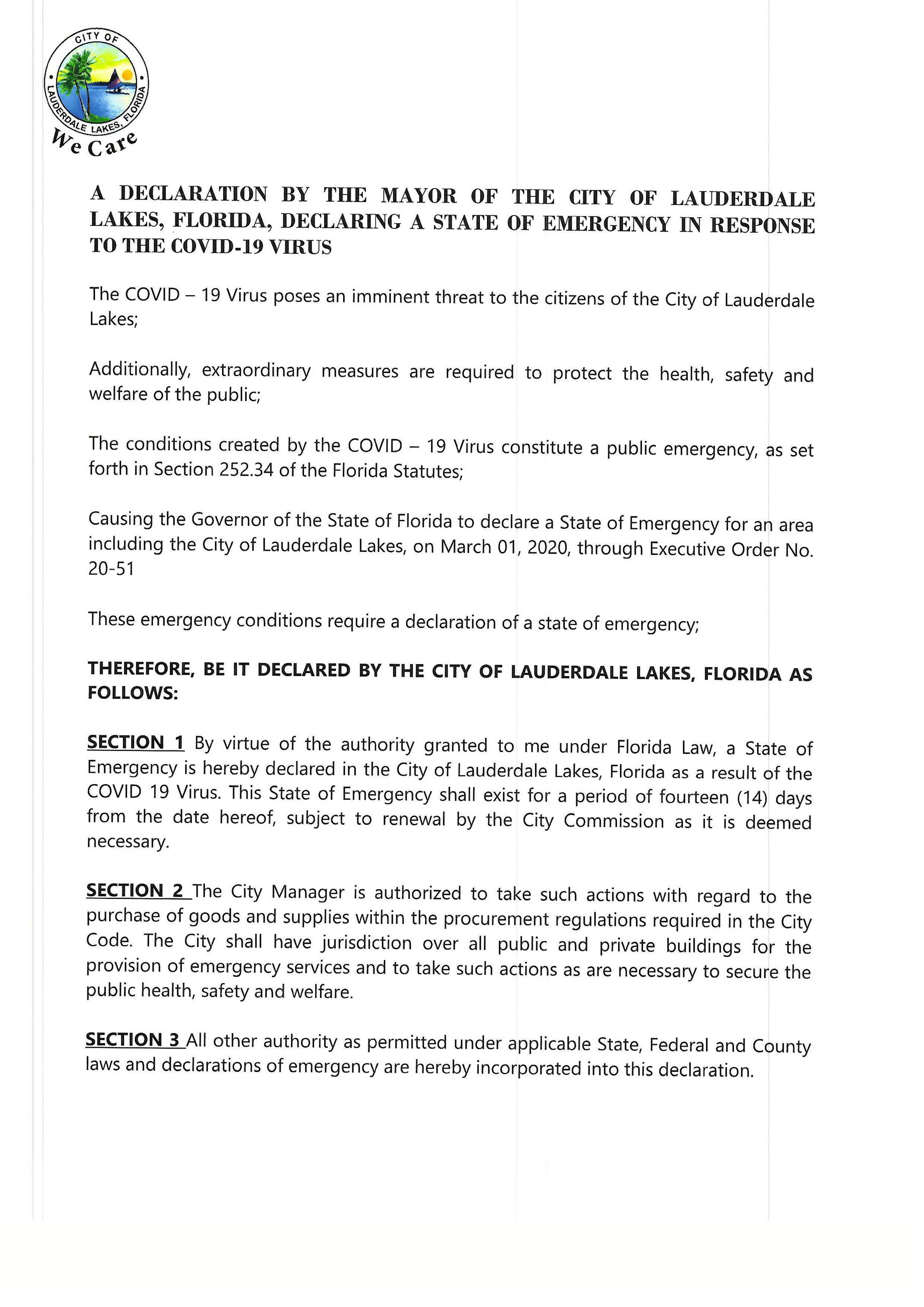 A Declaration by The Mayor of the City of Lauderdale Lake_Page_1