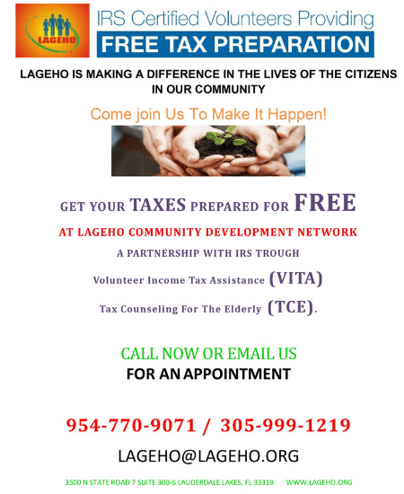 LAGEHO tax prep flyer 2 eng