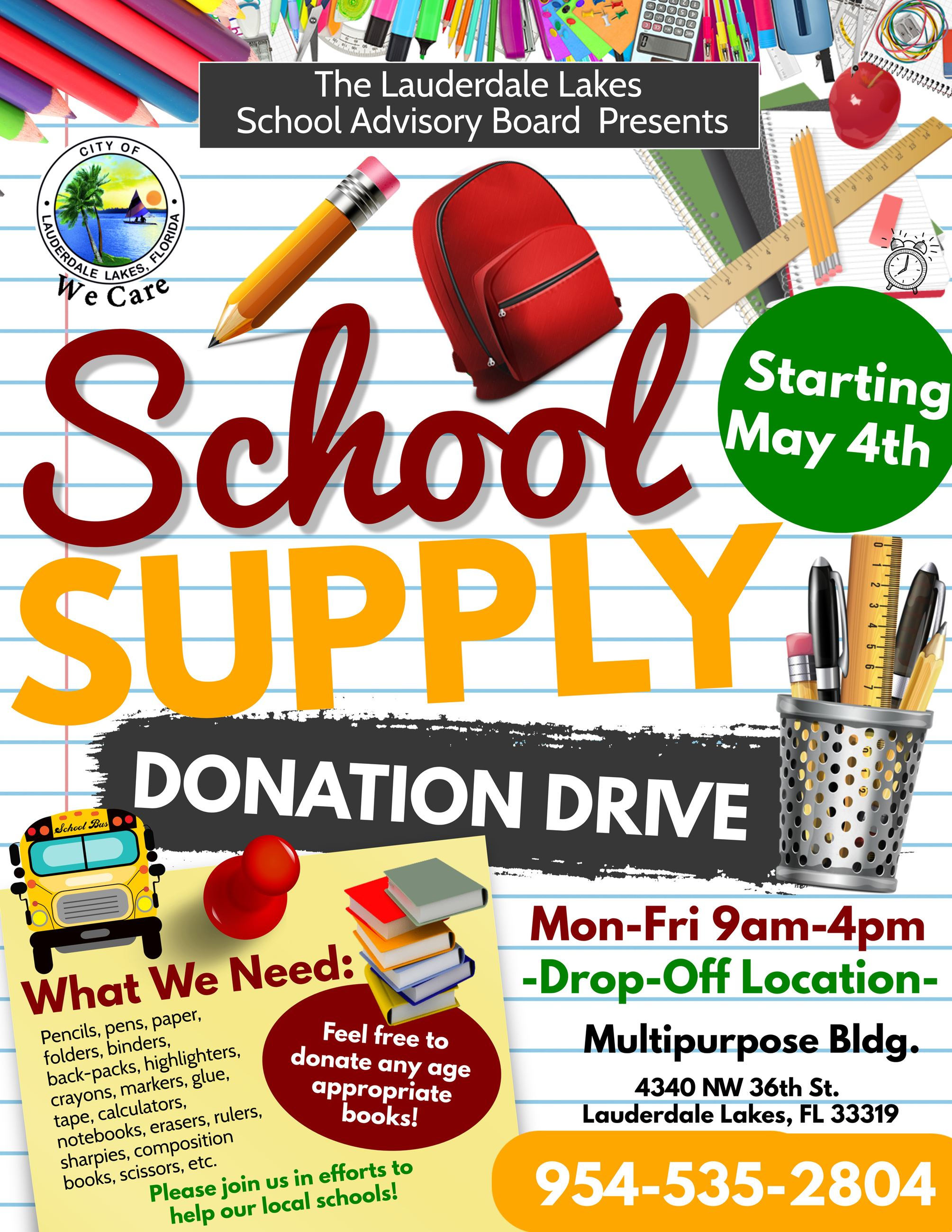 SAB School Supply Donation Flyer